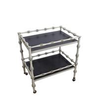 Faux Bamboo Bar Trolley With Faux Slate Shelves