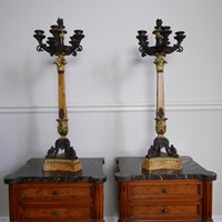 Remarkable Pair of Sienna Marble Candlesticks