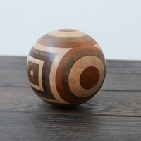 Unusual Turned Marquetry Ball Curio