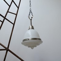 French Opaline Glass Stepped Pendant Light