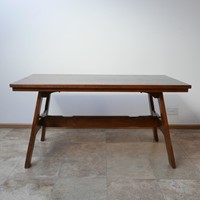 Oak Brutalist Mid-Century Belgium Dining Table