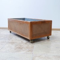 French Mid-Century Rattan Internal Planter