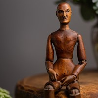 Antique French Carved Wood Lay or Artist Figure