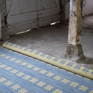 Blue and yellow double-sided Star rug