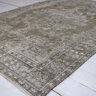 Faded vintage Tabriz carpet, grey and white