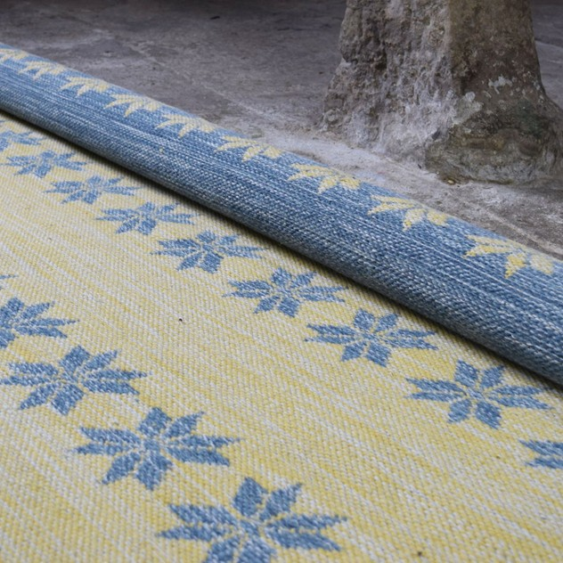 Blue and yellow double-sided Star rug-joshua-lumley-contemporary-Yellow side - detail cow shed_main_636305334747052898.jpg