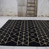 Black and white contemporary kilim rug