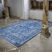 blue and off-white soft wool contemporary rug