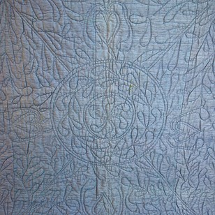 Blue Silk Quilt with Linen Reverse French 19thC