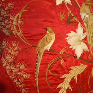 Cherry silk hand embroidered textile