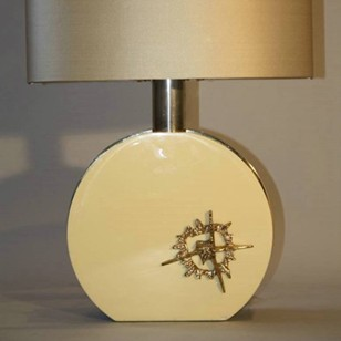 Cream and gold sculpture lamp, c1970, Italian