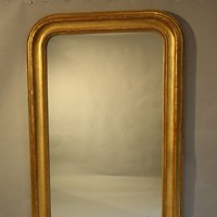 Soft gold archtop overmantle mirror