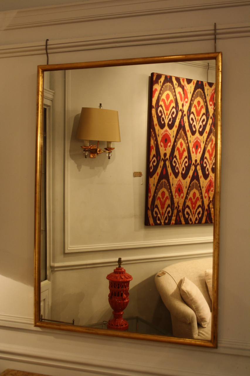 Narrow framed soft gold bistro mirror decorative collective for Narrow wall mirror decorative