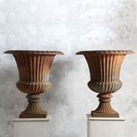 Pair of Large 20thC Cast Iron Urns