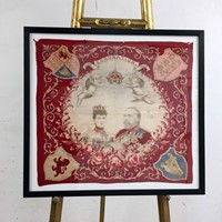 King Edward VII Coronation, June 1902 Framed Scarf