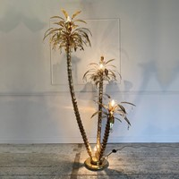 1970's Italian Gilt & Crystal Palm Tree Floor Lamp