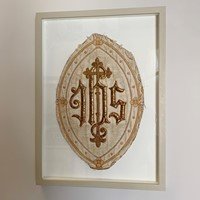Antique French 'IHS' Embroidered Religious Panel