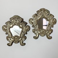 Pair Of 18Th Century Silver Plated Baroque Mirrors