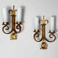 1930's Spanish Gilt Hand Forged Wall Sconce's