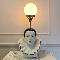 1980'S Ceramic Pierrot & Globe Table Lamp
