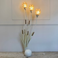 1980's Bamboo & Bulrush Floor Lamp