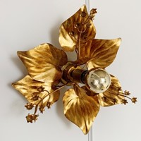Hans Kogl Style Gilt Flower Flush Light, 1980's