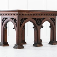 19th Century Victorian Gothic Pine Console Table