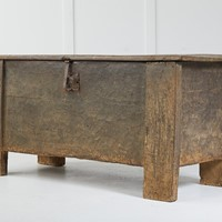 16th century riven oak clamp front chest