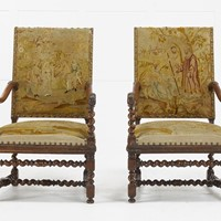 Pair of 19th Century French Carved Walnut Chairs