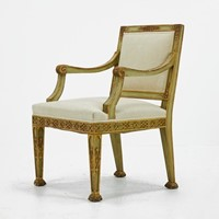 19th Century Italian Painted and Gilt Armchair