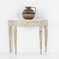 18th Century French Marble Top Demi Lune Console