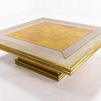 Large 1960s Spanish Etched Brass Coffee Table