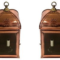 Antique pair of copper wall lanterns