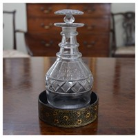 A Regency ring neck half bottle decanter