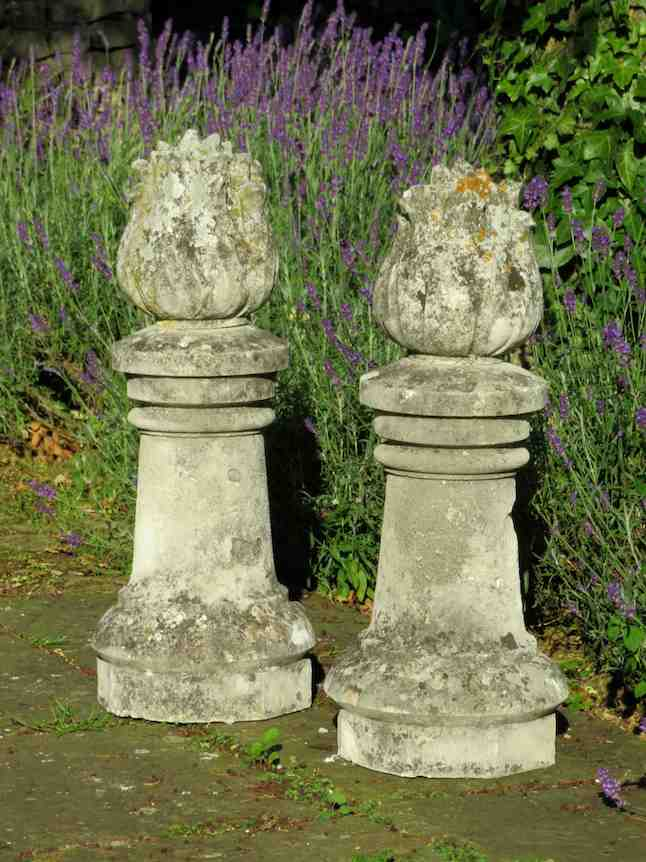 Pair of 19thC stone flame finials Decorative Collective