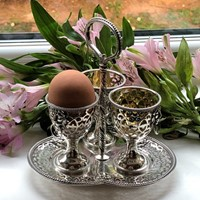 A Victorian Egg Cruet Pierced Cups With Lion Masks