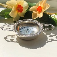 Silver Tea Strainer & Stand By Richard Comyns