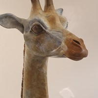 Contemporary Patinated Giraffe Sculpture