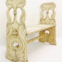 Art Nouveau Wood Bench