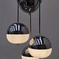 1970's Chrome and Glass Pendant Light