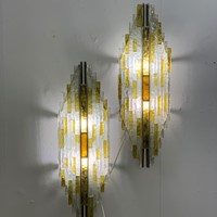 1960's pair of brutalist sconces