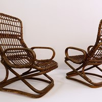 Vintage Cane Lounge Chairs (Italy)