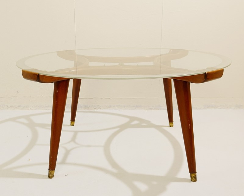 1940's Walnut and Brass Coffee Table -living-in-style-gallery-wood-brass-coffee-table-circular-glass-top-2225476-en-max-main-637403020432034171.jpg