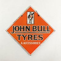Double-sided john bull tyres enamel sign