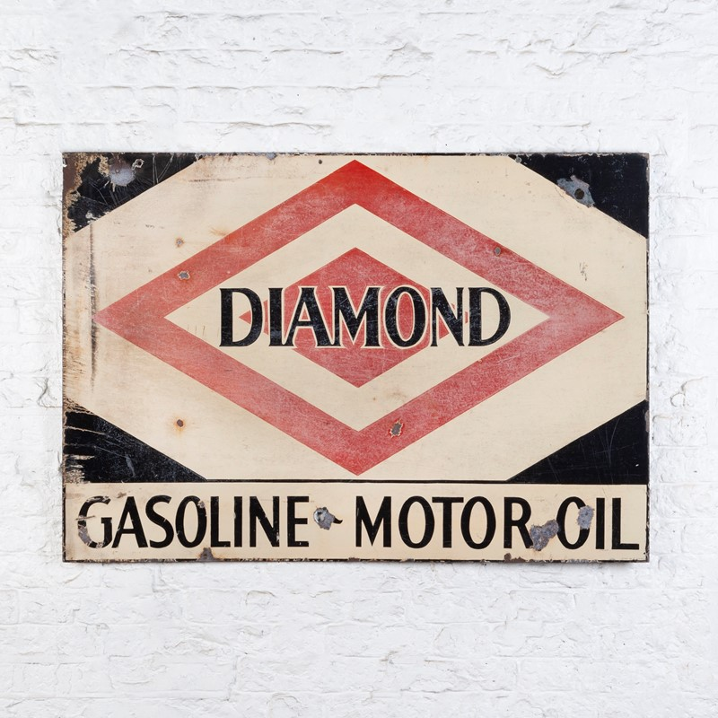 A large, Diamond Gasoline / Motoroil Enamel Sign-ljw-antiques-0913-back-main-637180826757476880.jpg