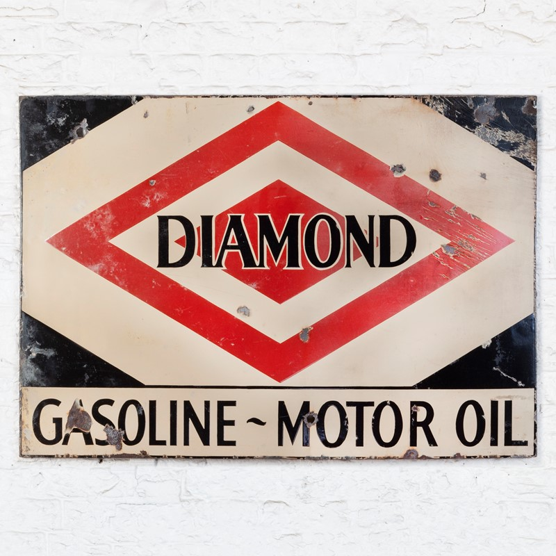 A large, Diamond Gasoline / Motoroil Enamel Sign-ljw-antiques-0913-main-main-637180826464817091.jpg