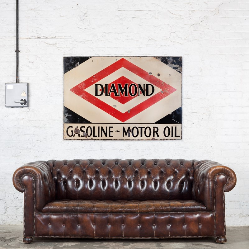 A large, Diamond Gasoline / Motoroil Enamel Sign-ljw-antiques-0913-wsofa-main-637180827047938576.jpg