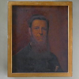 19thC oil of a handsome bearded fellow