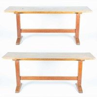 Pair of 6' oak refectory tables/consoles