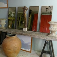 Outstanding set of 4 bronze smoked glass mirrors